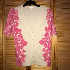 New York & Company Pink Floral Lace Cardigan